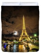 Eiffell Tower At Night After The Storm Passed Duvet Cover