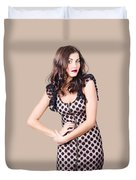 Elegant High Fashion Model In Autumn Clothes Duvet Cover