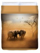Elephants At Sunset 072 - Painting Duvet Cover