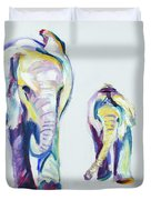 Elephants Side By Side Duvet Cover