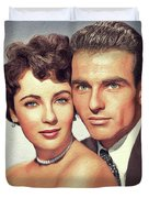 Elizabeth Taylor And Montgomery Clift, Hollywood Legends Duvet Cover