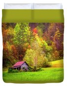 Embraced In Autumn Color Painting Duvet Cover