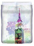 Empire State Building Colorful Watercolor Duvet Cover
