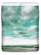 Empty Beach Bench Duvet Cover