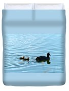 Eurasian Coot And Offspring In Ria Formosa. Algarve, Portugal Duvet Cover