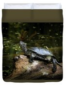 European Pond Turtle Sitting On A Trunk In A Pond Duvet Cover