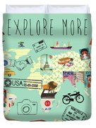 Exlore More World Map Duvet Cover