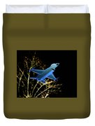 F 16 Lit Up At Night On Glass Monument Duvet Cover