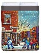 Face Off Street Hockey At The Corner Dep Snow Falling Streets Of Montreal Quebec Artist C Spandau Duvet Cover