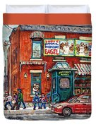 Fairmount Bagel Bakery Laneway Hockey Art Depanneur Winter Scenes C Spandau Montreal Landmark Stores Duvet Cover