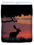Fallow Stag At Sunset Duvet Cover