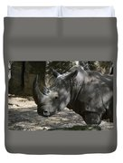 Fantastic Profile Of A Rhino With A Long Horn Duvet Cover