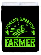 Farmer Shirt Worlds Greatest Farmer Gift Tee Duvet Cover