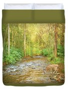 Fawn Drinking From Stream Duvet Cover