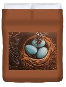 Feathers And Eggs Duvet Cover