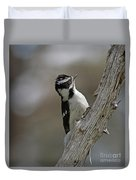 Female Downy Woodpecker Duvet Cover