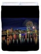 Fireworks And Tillikum Crossing Duvet Cover