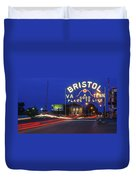 First Night Of The Bristol Sign With New Led Bulbs Duvet Cover