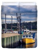 Fishing Boats At Wharf In Marie Joseph Duvet Cover