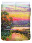 Fishing In Evening Glow Duvet Cover