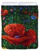 Floral Interpretation - Poppy Duvet Cover by James W Johnson