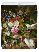Flowers In A Vase With Two Doves Duvet Cover