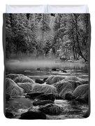 Fog On Yosemite River Duvet Cover