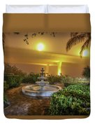 Foggy Fountain And Bridge Duvet Cover by Tom Claud