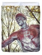 Football Statue - Rutgers University Duvet Cover