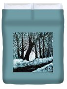 Forest Misty Dawn In Late Fall Duvet Cover