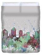 Fort Worth Skyline Artistic Pastel Duvet Cover
