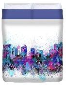 Fort Worth Skyline Color Splatter Duvet Cover