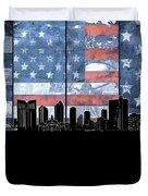 Fort Worth Skyline Flag 3 Duvet Cover