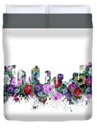 Fort Worth Skyline Floral Duvet Cover