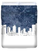 Fort Worth Skyline Map Blue Duvet Cover