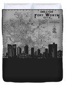 Fort Worth Skyline Map Grey Duvet Cover