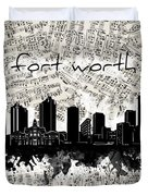 Fort Worth Skyline Music Sheet Duvet Cover