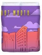 Fort Worth Skyline Panorama Purple Duvet Cover