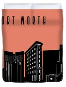Fort Worth Skyline Panorama Red Duvet Cover