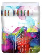 Fort Worth Skyline Panorama Watercolor 2 Duvet Cover