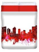Fort Worth Skyline Red Duvet Cover