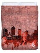 Fort Worth Skyline Vintage Red Duvet Cover