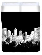 Fort Worth Skyline Watercolor Black And White 2 Duvet Cover