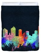 Fort Worth Skyline Watercolor Black Duvet Cover