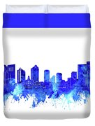 Fort Worth Skyline Watercolor Blue Duvet Cover