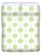 Four Leaf Clover Lucky Charm Pattern Duvet Cover