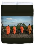 Four Monks And A Phone. Duvet Cover