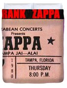 Frank Zappa 1980 Concert Ticket Duvet Cover