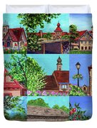 Frankenmuth Downtown Michigan Painting Collage V Duvet Cover