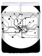 Frankfurt White Subway Map Duvet Cover